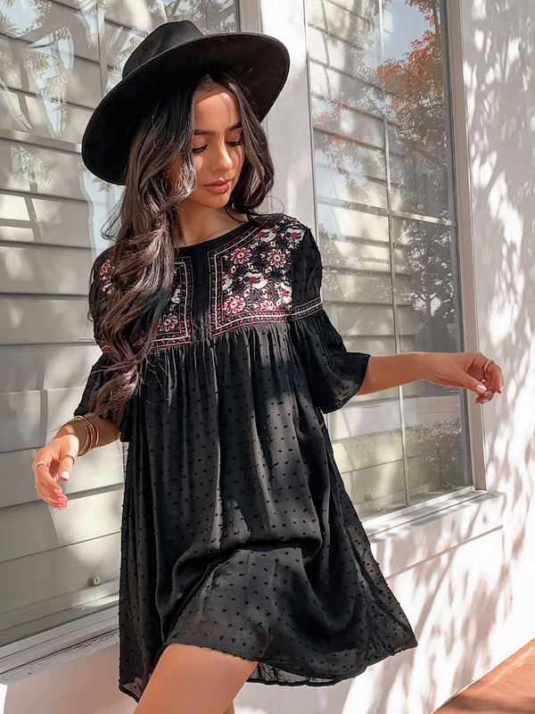 'Jackie' Embroidered Babydoll Dress