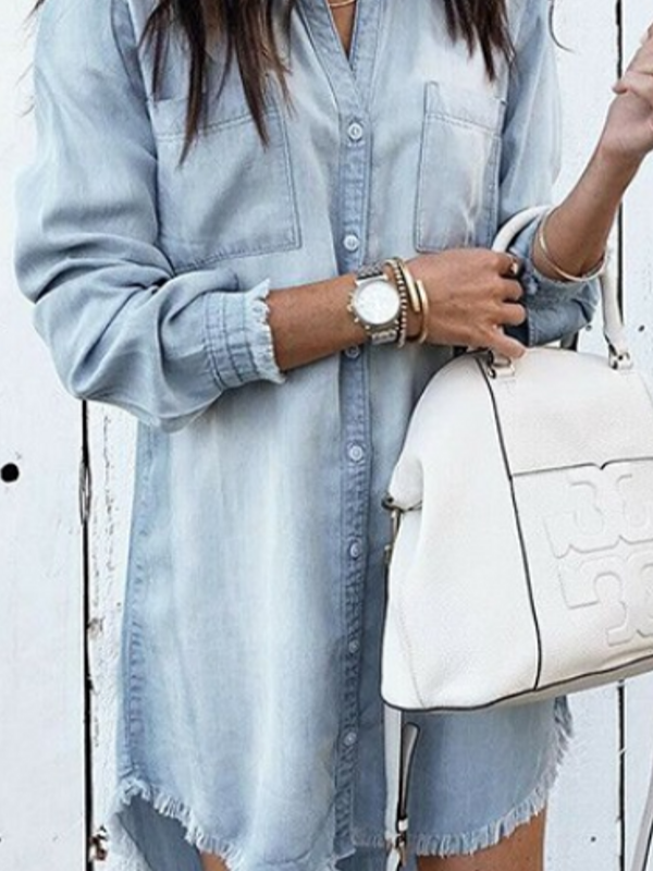 'Nikki' Button-Up Chambray Dress