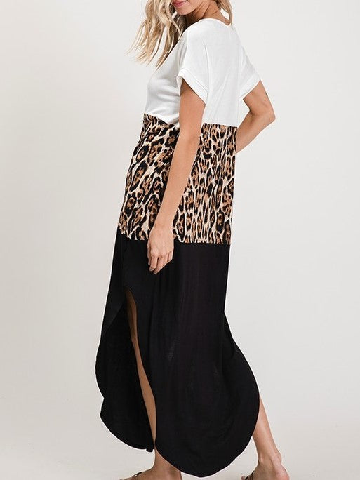 'Sasha' Leopard Color Block Maxi
