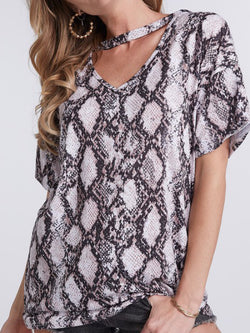 'Joelle' Snake Skin Cut-Out Top