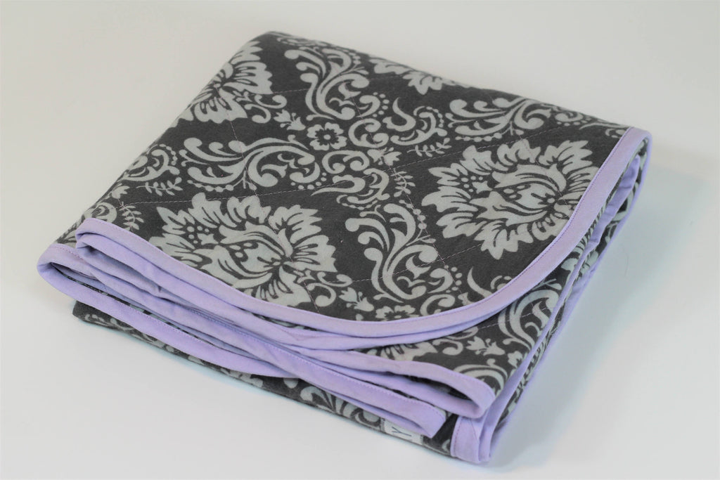 Swaddle Blanket made with Gray Damask Fabric