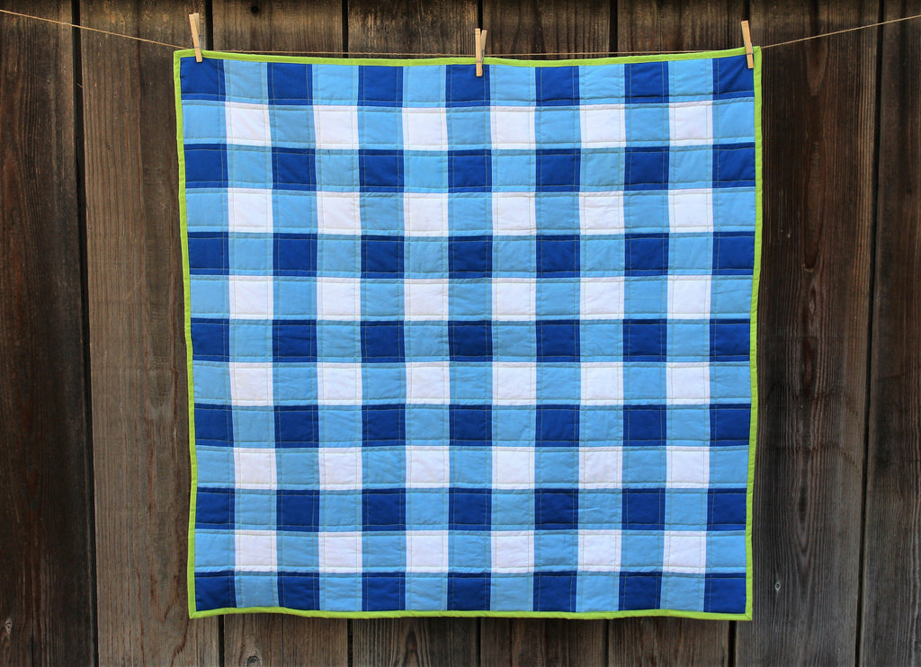 Gingham Quilt in Blue