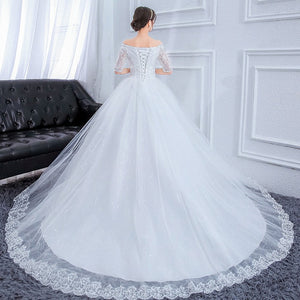2019 Luxury Wedding Dress Lace Beading Off-shoulder Ball Gown