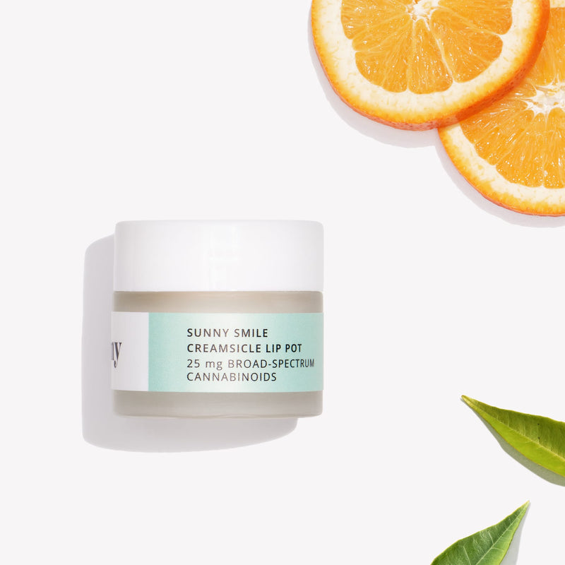 Creamsicle Lip Pot with Broad-Spectrum Hemp Oil. Natural CBD skincare. Organic CBD products. CBD beauty and self-care. Best CBD products. Hemp oil benefits. CBD medicinal. CBD for inflammation. CBD near me. CBD bath products. CBD beauty products.