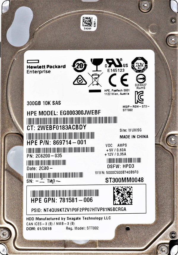 HP Enterprise Performance EG000300JWEBF 300GB SAS Interne HDD ST300MM0048
