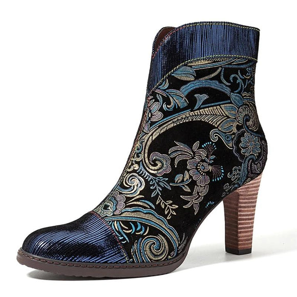 bottines reversible confortable bleu imprimé cuir