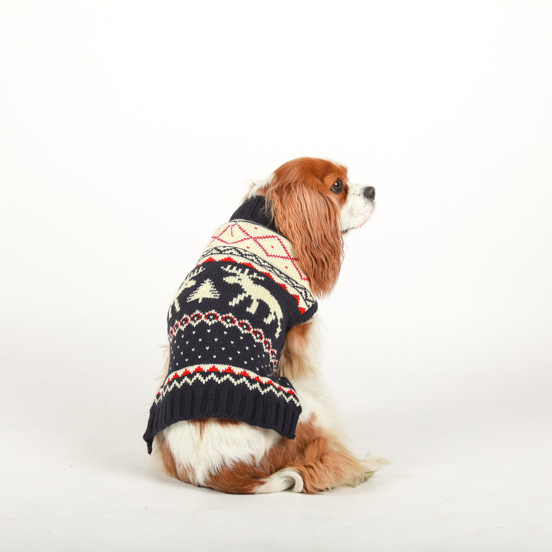 Navy Moose Fairisle Sweater fabdog®