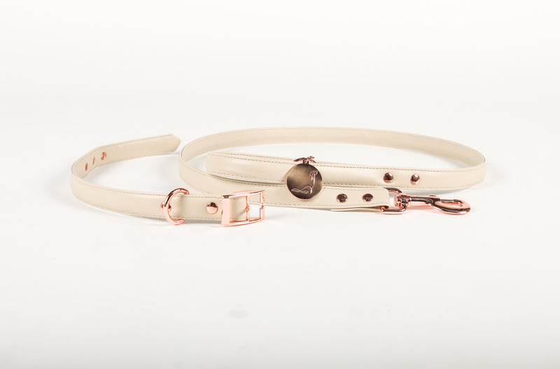 Leash and Collar set | RODEO DRIVE Cream *PREMIUM* Vegan Leather
