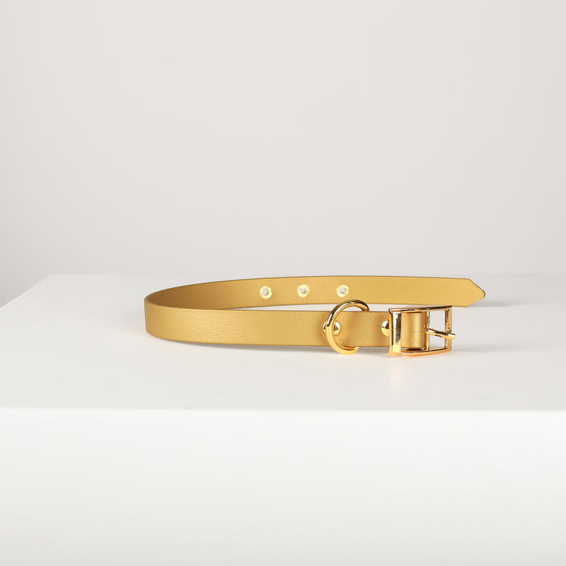 BROADWAY Gold Vegan Leather Collar