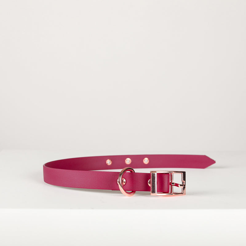 MADISON AVENUE Wine Red Vegan Leather Collar