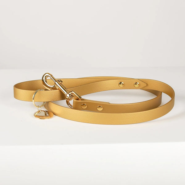 BROADWAY Gold Vegan Leather Leash