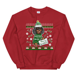 UGLY CHRISTMAS SWEATER (black & tan) Unisex Sweatshirt