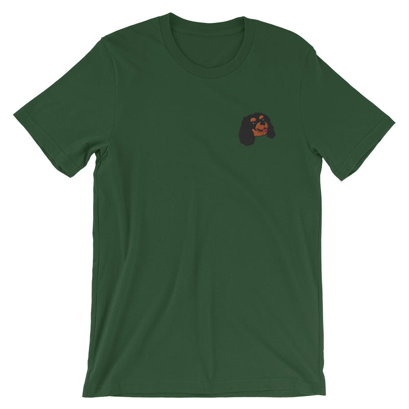 Embroided Cavalier (Black & Tan) Short-Sleeve Unisex T-Shirt