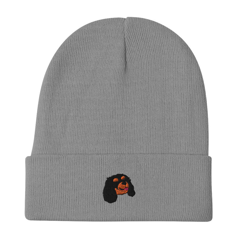 BEANIE - Embroidered Black & Tan