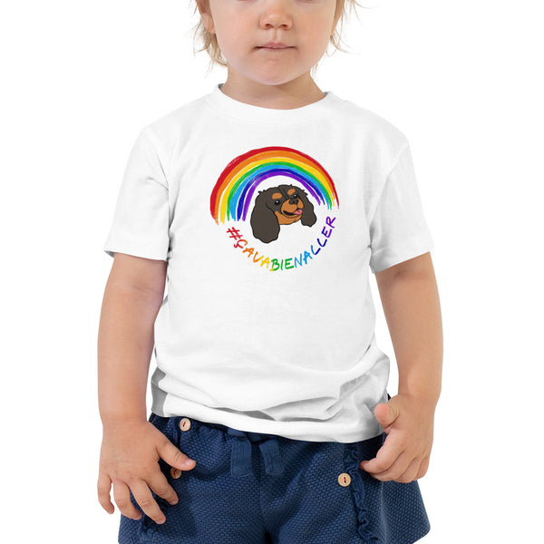 #ÇaVaBienAller Black & Tan Charity Toddler Tee