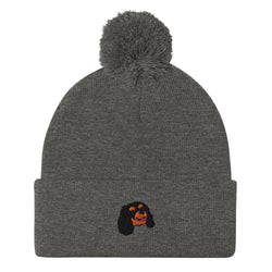 POM POM BEANIE - Embroided Black & Tan