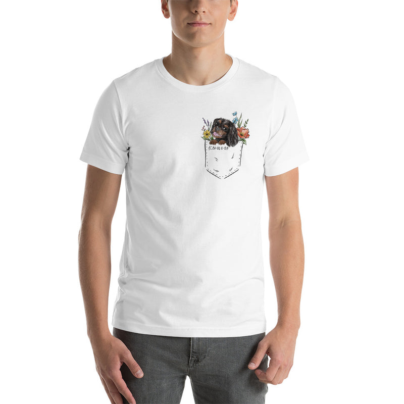 CAV IN POCKET (black and tan) White T-Shirt