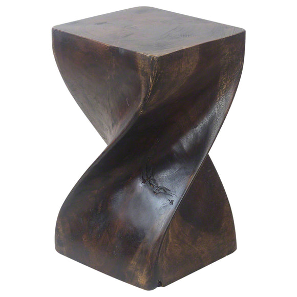 Haussmann® Big Twist Stool 12 in SQ x 20 in H Acacia Wood Livos Mocha Oil Finish