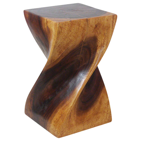 Haussmann® Big Twist Wood Stool Table 12 in SQ x 20 in H Walnut Oil