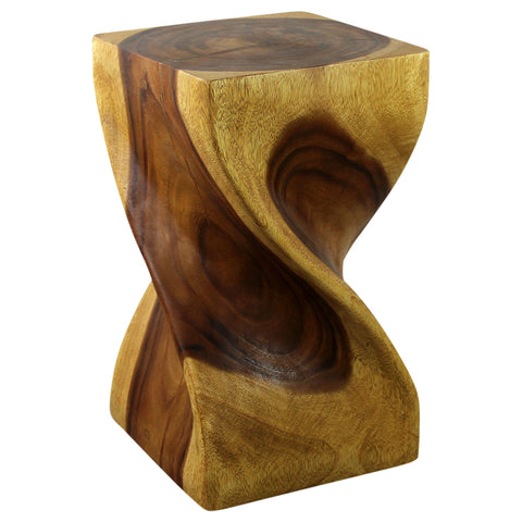 Haussmann® Big Twist Wood Stool Table 12 in SQ x 20 in H Oak Oil