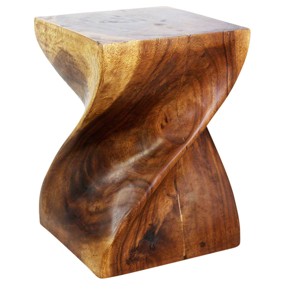 Haussmann® Brand Big Twist Stool 14x14x20 inch H Monkey Pod Wood in Eco-Friendly Livos Walnut Oil