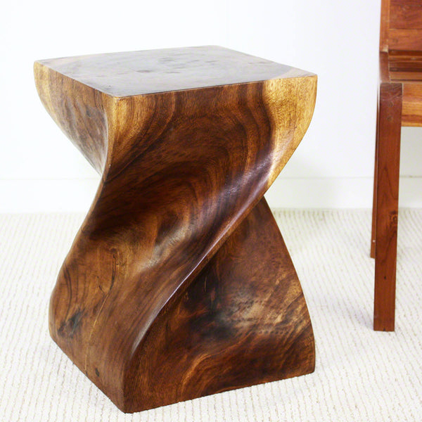 Haussmann® Big Twist Wood Stool Table 14 in SQ x 20 in H Walnut Oil