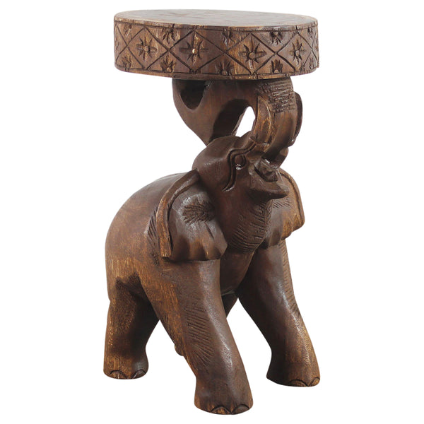 Haussmann® Wood Elephant Chang Stool 11 in DIA x 20 in H Walnut Oil