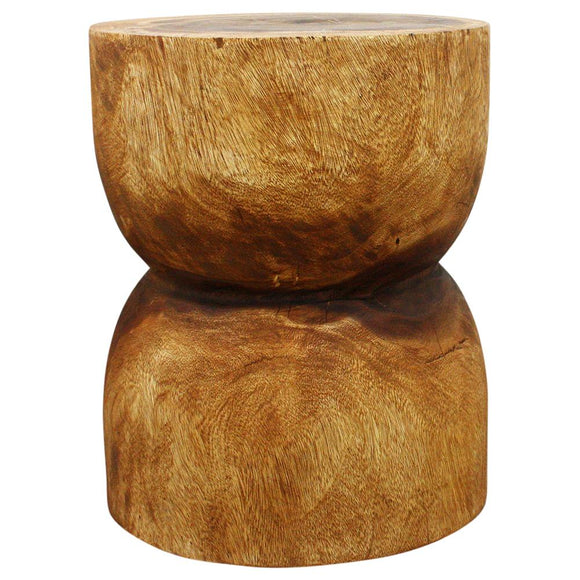 Haussmann® D Bell End Table Monkey Pod Wood 16 D x 20 inch H in Eco Livos Walnut Oil Finish