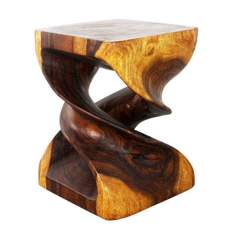 Haussmann® Double Twist Wood End Table 15 x 15 x 20 inch High in Livos Walnut Oil