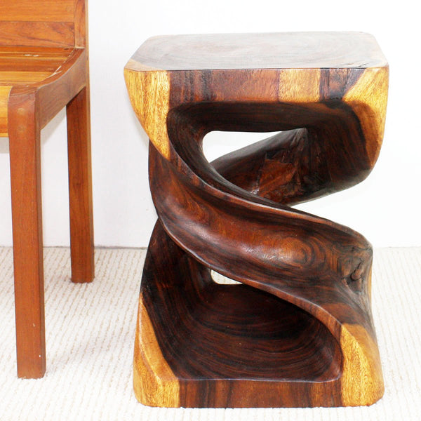 Haussmann® Wood Double Twist End Table 15 x 15 x 20 in High Walnut Oil
