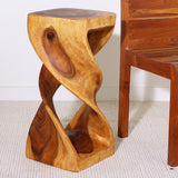Haussmann® Double Twist Stool Sustainable Wood 12x12x26 inch Ht Livos Eco Friendly Oak Oil