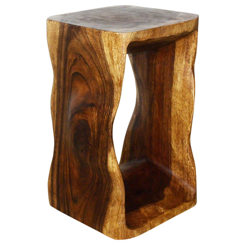 Haussmann® Wood Natural Stool End Table 12 In Sq X 20 In High Walnut Oil