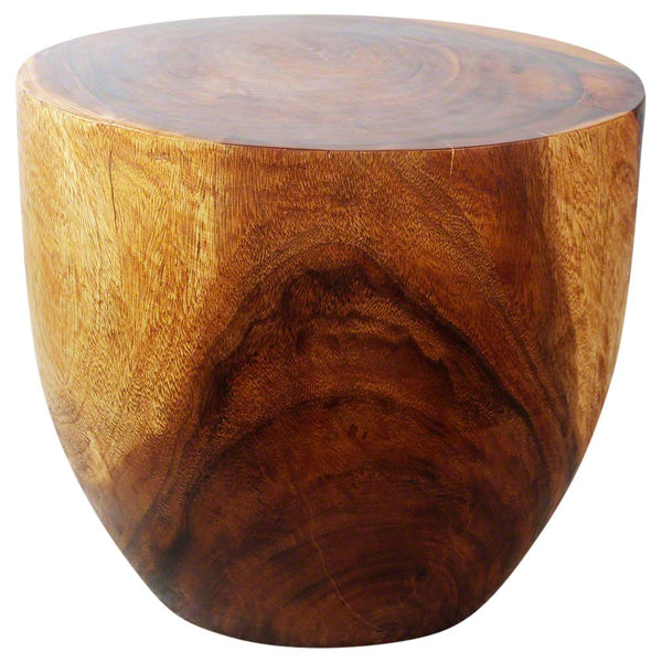 Haussmann Handmade Wood Oval Drum Table 20 in D x 18 in H Walnut