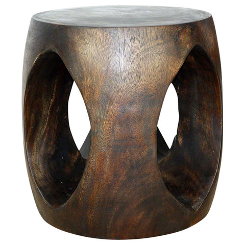 Haussmann® Oval Windows Eco Wood End Table 20 In Dia X 20 In High Livos Mocha Oil