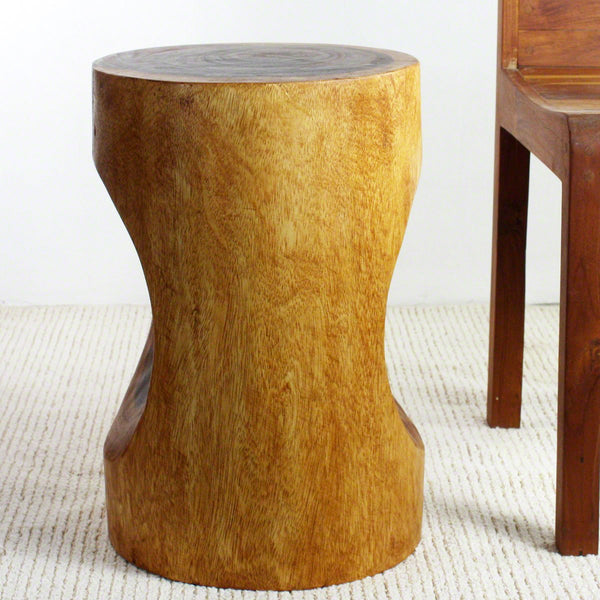 Haussmann® Wood Peephole Table Stool 13 in D x 20 in H Walnut Oil