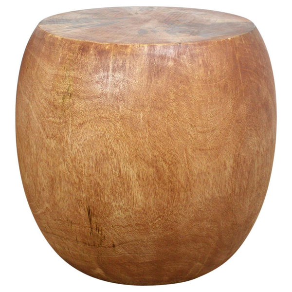 Haussmann® Mango Wood Pouf Stool 20 in DIA x 18 in High Light Teak Oil