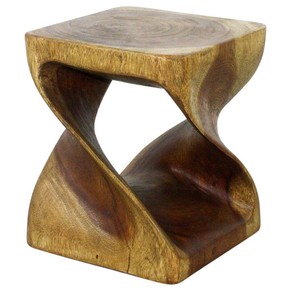 Haussmann® Original Wood Twist Stool 10 in SQ x 12 in High Antique Oak Oil