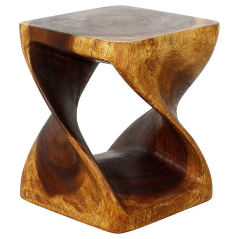 Haussmann® Original Wood Twist Stool 10 in SQ x 12 in High Finished in Livos Walnut Oil