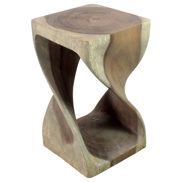 Haussmann® Original Wood Twist Stool 12 X 12 X 20 In High Grey Oil