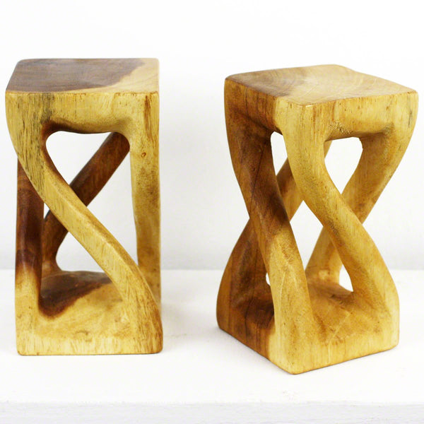 Haussmann® Wood Mini, Vine Twist Stool 4 in SQ x 7.5 in H S2 Clear Oil