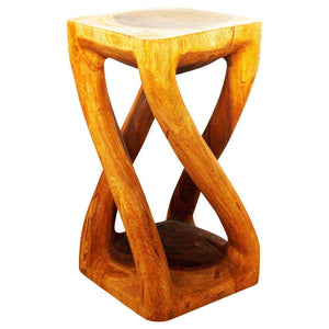 Haussmann® Wood Vine Twist Stool Accent Table 12 in x 22 in H Oak Oil