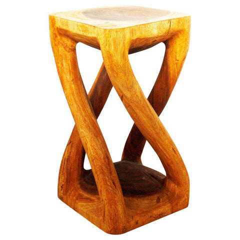 Haussmann® Vine Twist Stool 12 In X 22 In H Sustainable Acacia Wood Oak Oil
