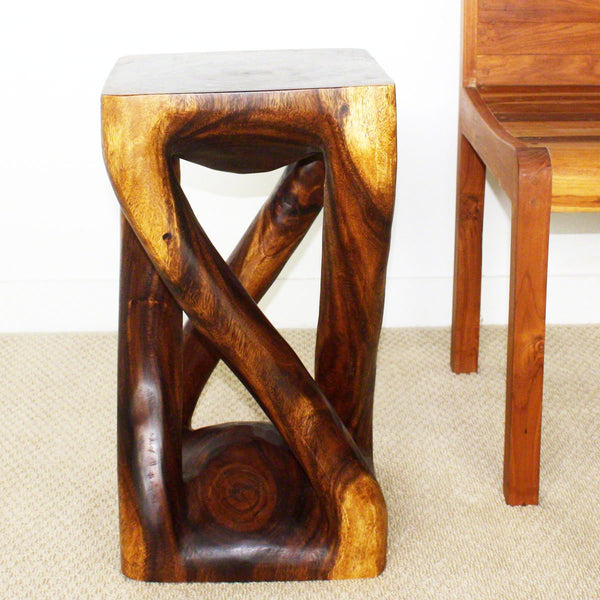 Haussmann® Vine Twist Stool 12 In X 22 In H Sustainable Acacia Wood Walnut Oil