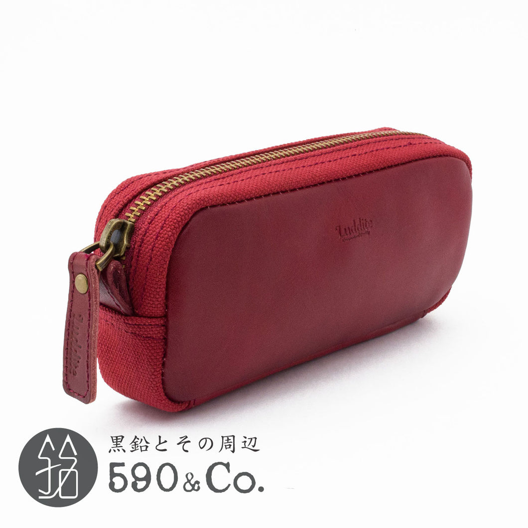 (LDKC-BXPN-03)Leather & Cotton combination box pen case (Red x Red)