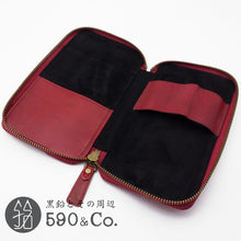 Load image into Gallery viewer, (LDKC-RZP-03)Leather & Cotton combination round zip pen case (Red x Red)