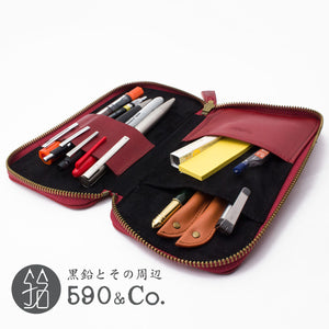 (LDKC-RZP-03)Leather & Cotton combination round zip pen case (Red x Red)