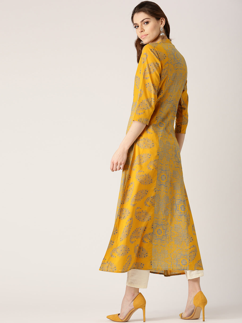 Women Mustard Yellow & Blue Printed A-Line Kurta