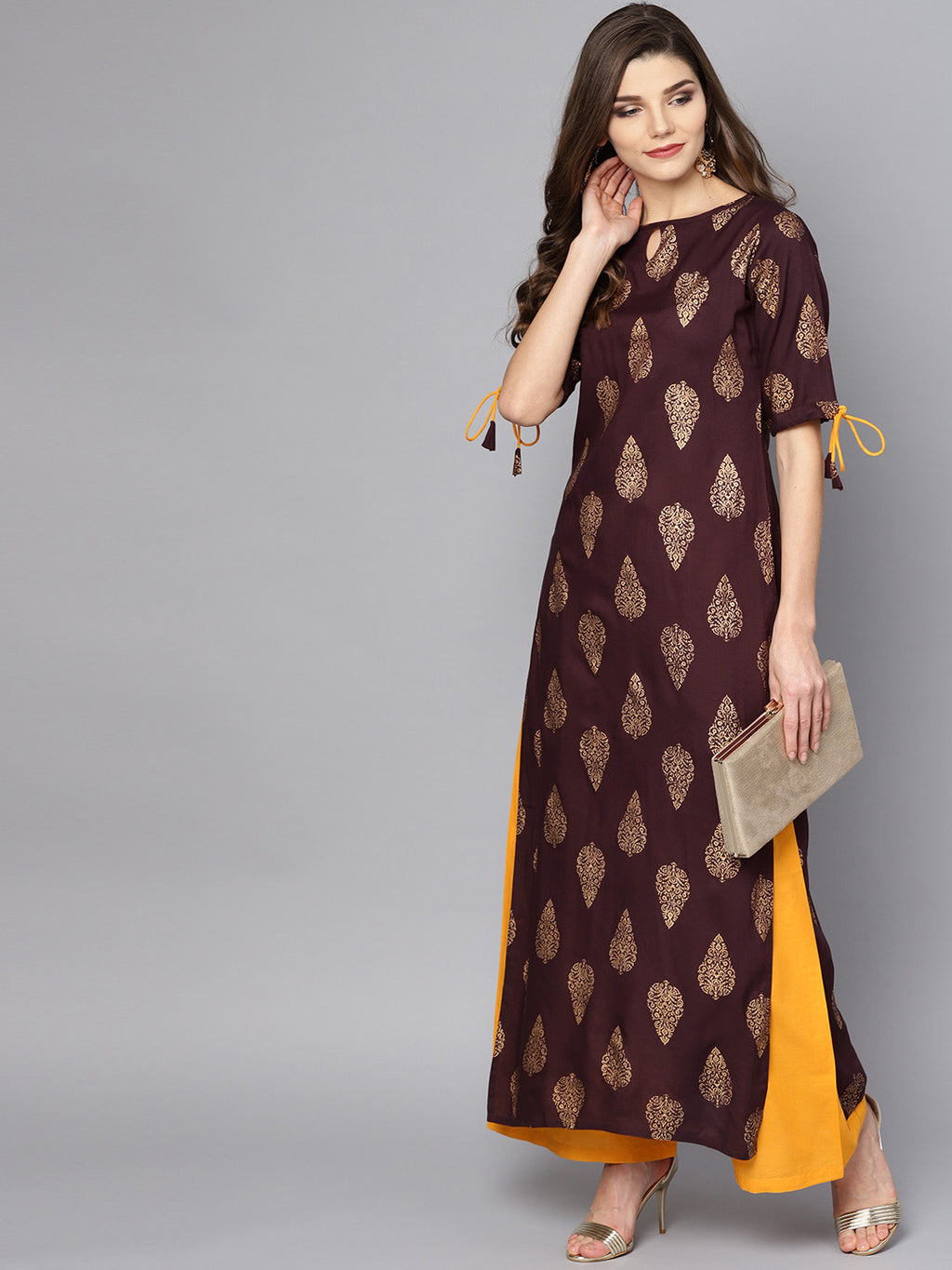 Women Burgundy & Mustard Yellow Printed Kurta with Palazzos