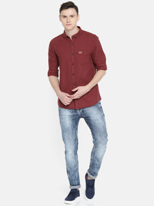 Men Maroon Slim Fit Self Design Casual Shirt
