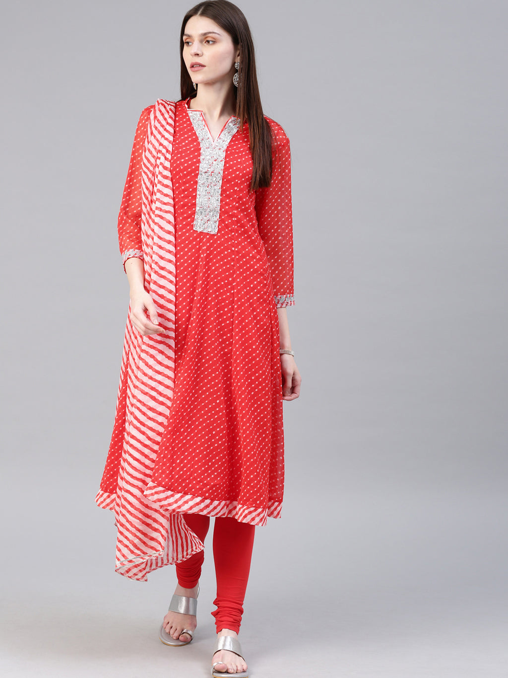 Women Red & White Printed Kurta with Churidar & Dupatta
